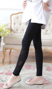 Quần legging bầu chân ren màu đen