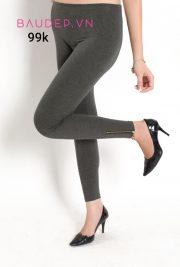 Quần legging bầu chân khóa màu ghi
