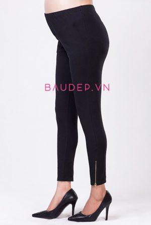 quan legging bau khoa den, quần bầu mùa đông đẹp rẻ, quần legging đẹp rẻ, Quần legging bầu chân khóa màu đen