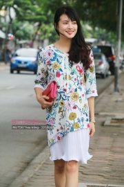 Đầm bầu công sở TD07 hoa trắng