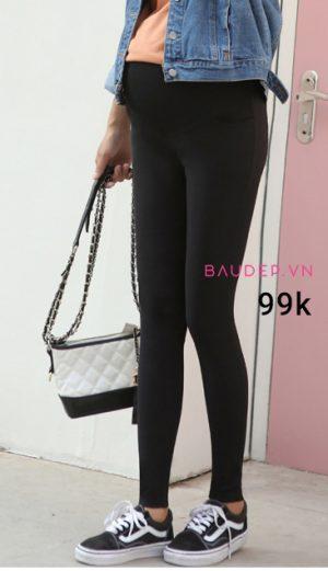 Quần legging bầu màu đen trơn, quần legging bầu, quần bầu giá rẻ