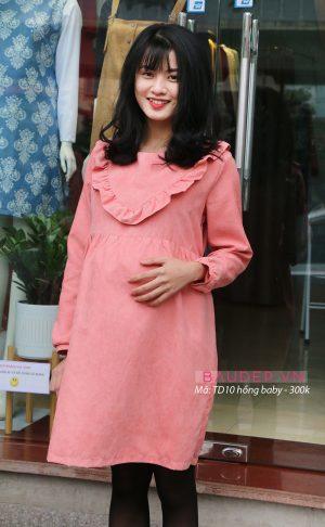 Đầm bầu TD10 hồng baby, đầm bầu công sở, đầm bầu thu đông, váy bầu thu đông, váy bầu tay dài