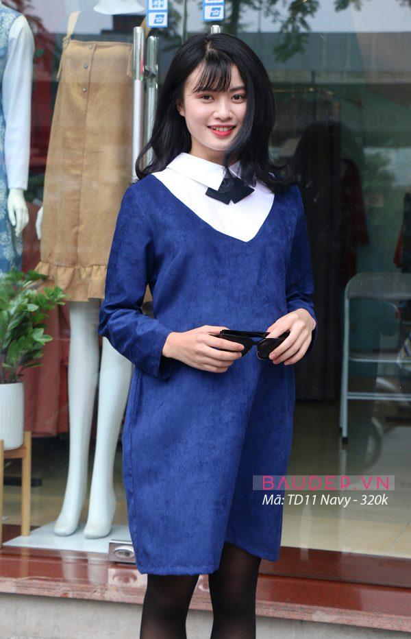 Đầm bầu TD11 Navy, đầm bầu công sở, đầm bầu thu đông, váy bầu thu đông, váy bầu công sở