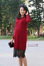 Đầm len bầu TK52 len đỏ chân ren