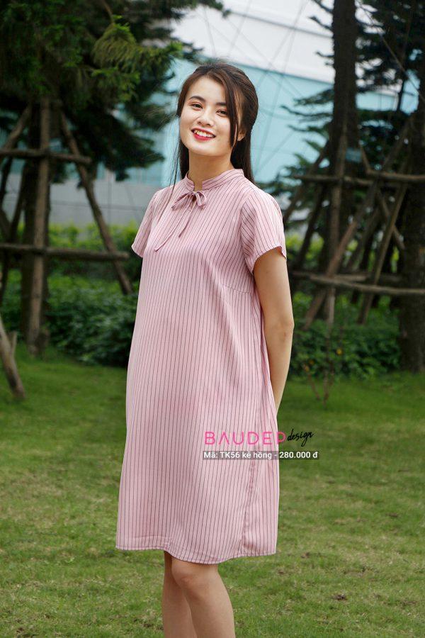 váy bầu suông trẻ trung TK56 hồng, váy bầu suông, váy bầu đẹp