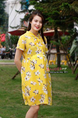 Váy bầu công sở TK33 hoa lan vàng váy bầu đẹp