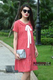 Đầm bầu suông TK59 Caro đỏ