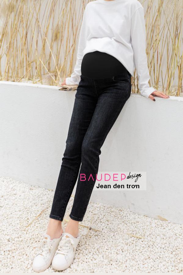 Quần jean bầu đen trơn, quần jean bầu, quần bầu, legging bầu,