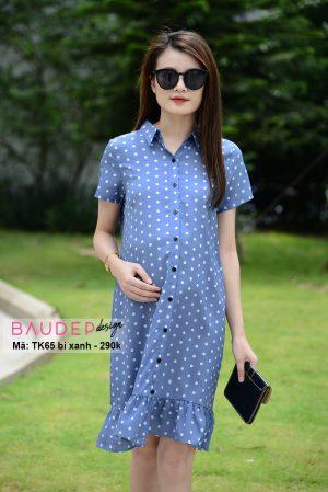 Đầm bầu suông TK65 chấm bi xanh, đầm bầu suông, váy bầu suông, đầm bầu đẹp, váy bầu đẹp, bầu đẹp design