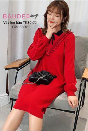 Đầm bầu len TK80 Đỏ/Hồng/Đen, đầm bầu len, đầm len bầu, váy len bầu