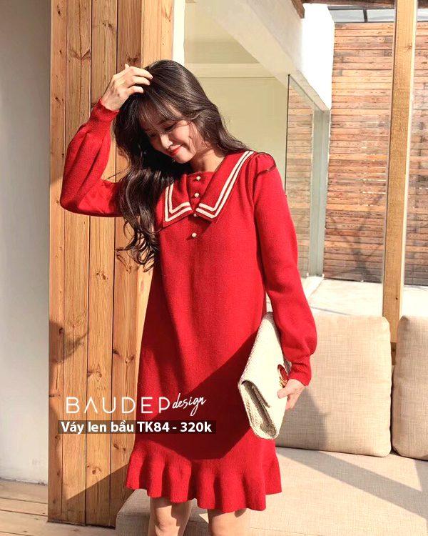Đầm bầu len TK84 Đỏ/Đen, đầm len bầu, váy len bầu