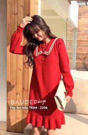 Đầm bầu len TK84 Đỏ/Đen