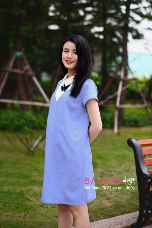Đầm bầu sơ mi TK72 xanh