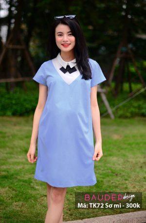 Đầm bầu sơ mi TK72 xanh, đầm bầu đẹp, váy bầu đẹp, đầm suông, đầm bầu sơ mi