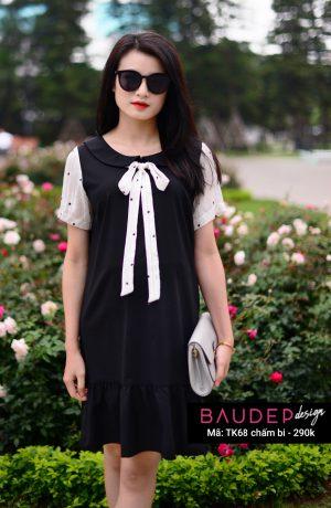 Đầm bầu đẹp TK68 Chấm bi, đầm bầu đẹp, đầm bầu suông, váy bầu đẹp, bầu đẹp design