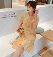 Đầm bầu  TK76 caro vàng
