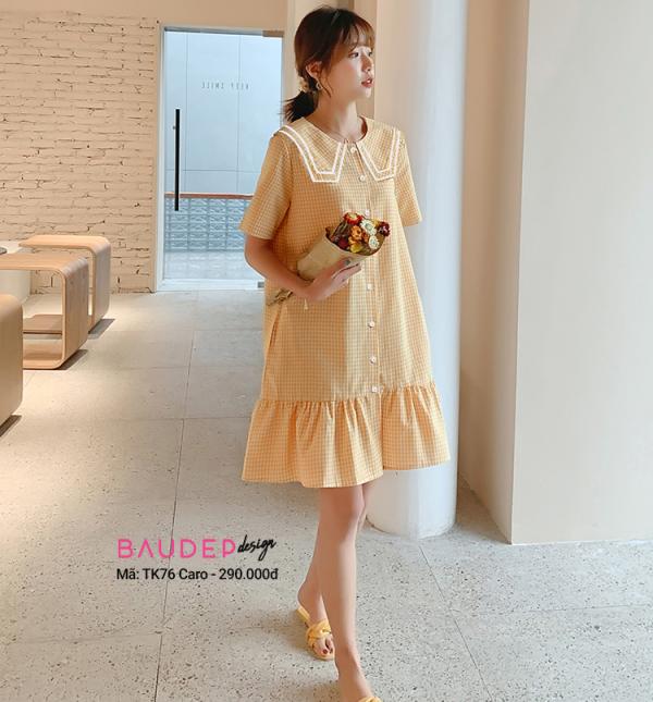 Đầm bầu  TK76 caro vàng, đầm bầu đẹp, váy bầu đẹp