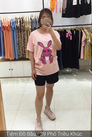 Áo cotton bầu thỏ hồng