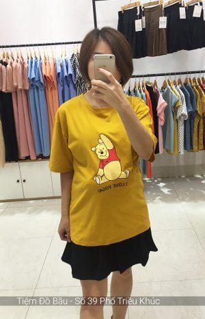 Áo cotton bầu gấu Pooh vàng