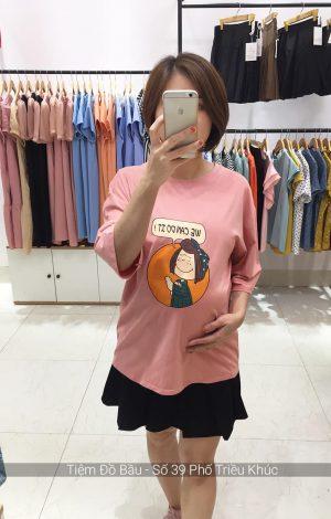 Áo cotton bầu We can do it màu hồng